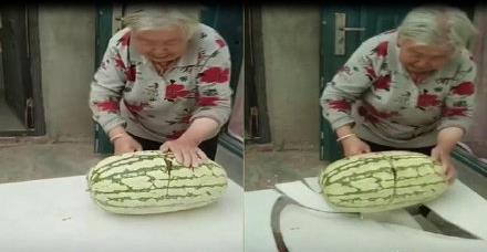 老奶奶切西瓜刀被卡双手一抬 接下来这幕看呆网友 直呼奶奶真是太可爱了
